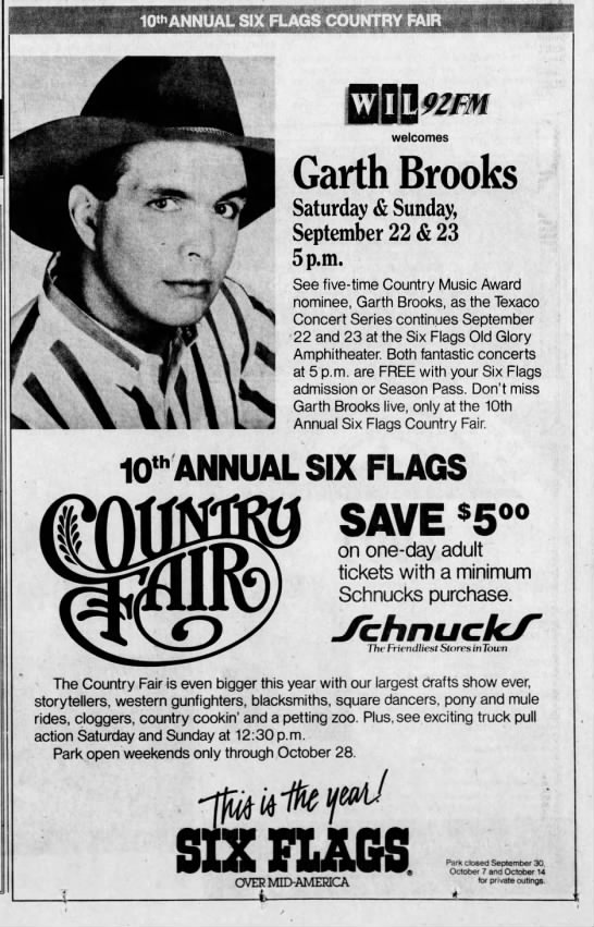 Garth Brooks At Six Flags 1990 In 2020 Nightlife Travel Night Life Country Fair