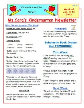 This is a weekly newsletter from my kindergarten class. This file ...