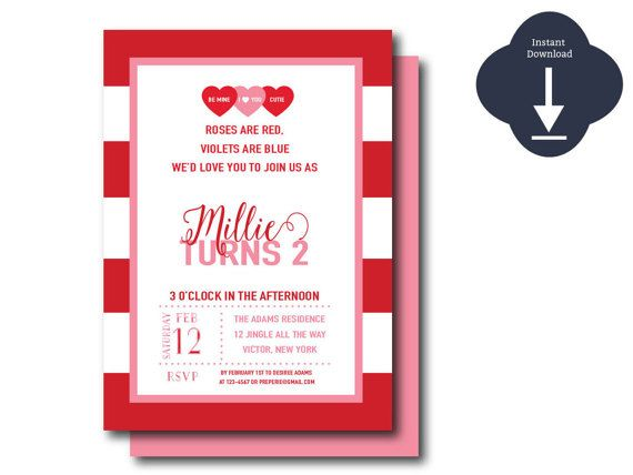 instant download digital red and pink valentine invitation template