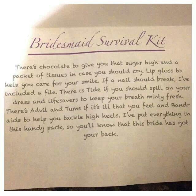 Bridesmaid Survival Kit - cute idea