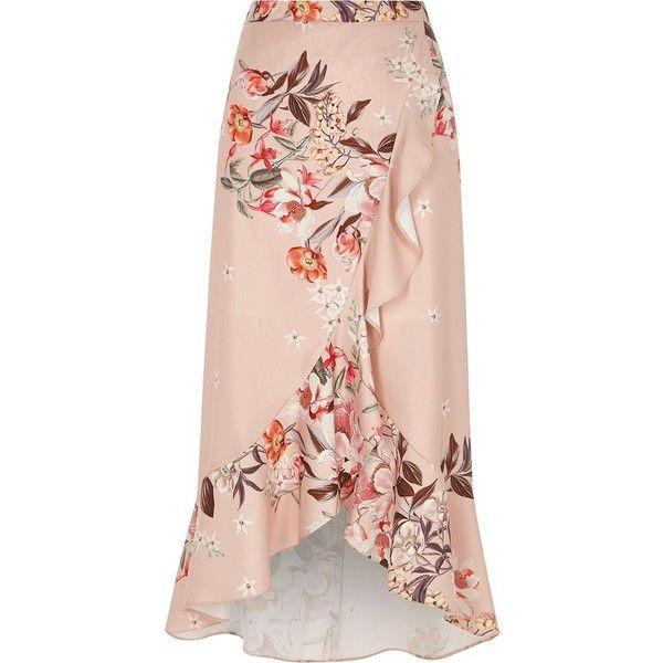 a44c2e95fc River Island Pink floral print frill hem wrap maxi skirt ($30) ❤ liked on