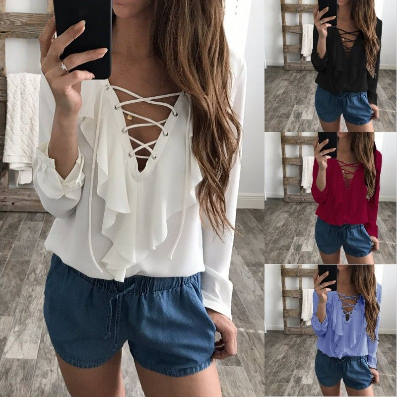 2e5b6de5ad8bb0 Find More Blouses   Shirts Information about 2018 Fashion Spring Summer  Women Chiffon Blouse Sexy Lace