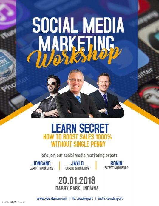 Social Media Marketing Workshop Flyer Poster Modern Business Flyer