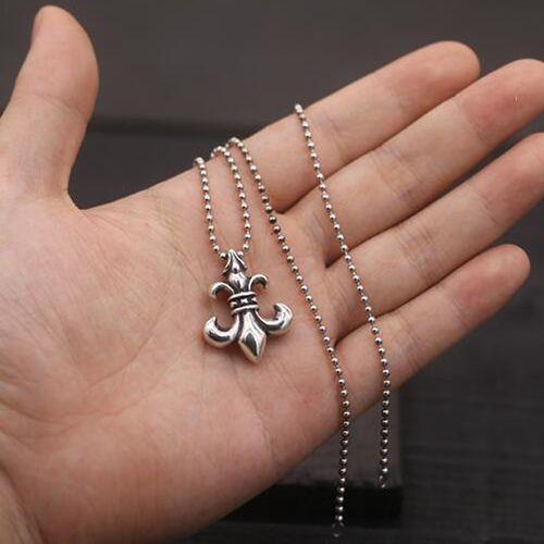 Mens sterling silver fleur de lis pendant necklace with sterling mens sterling silver fleur de lis pendant necklace with sterling silver bead chain 18 aloadofball Choice Image