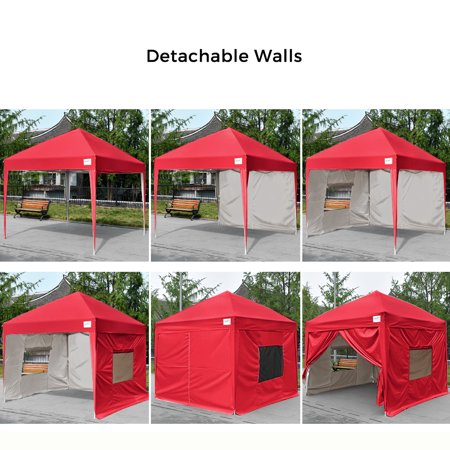 Upgraded Quictent Privacy 8x8 Ez Pop Up Canopy Tent Party Tent Gazebo With Mesh Windows And Sidewalls Waterproof Red Walmart Com Pop Up Canopy Tent Canopy Tent Outdoor Canopy Tent