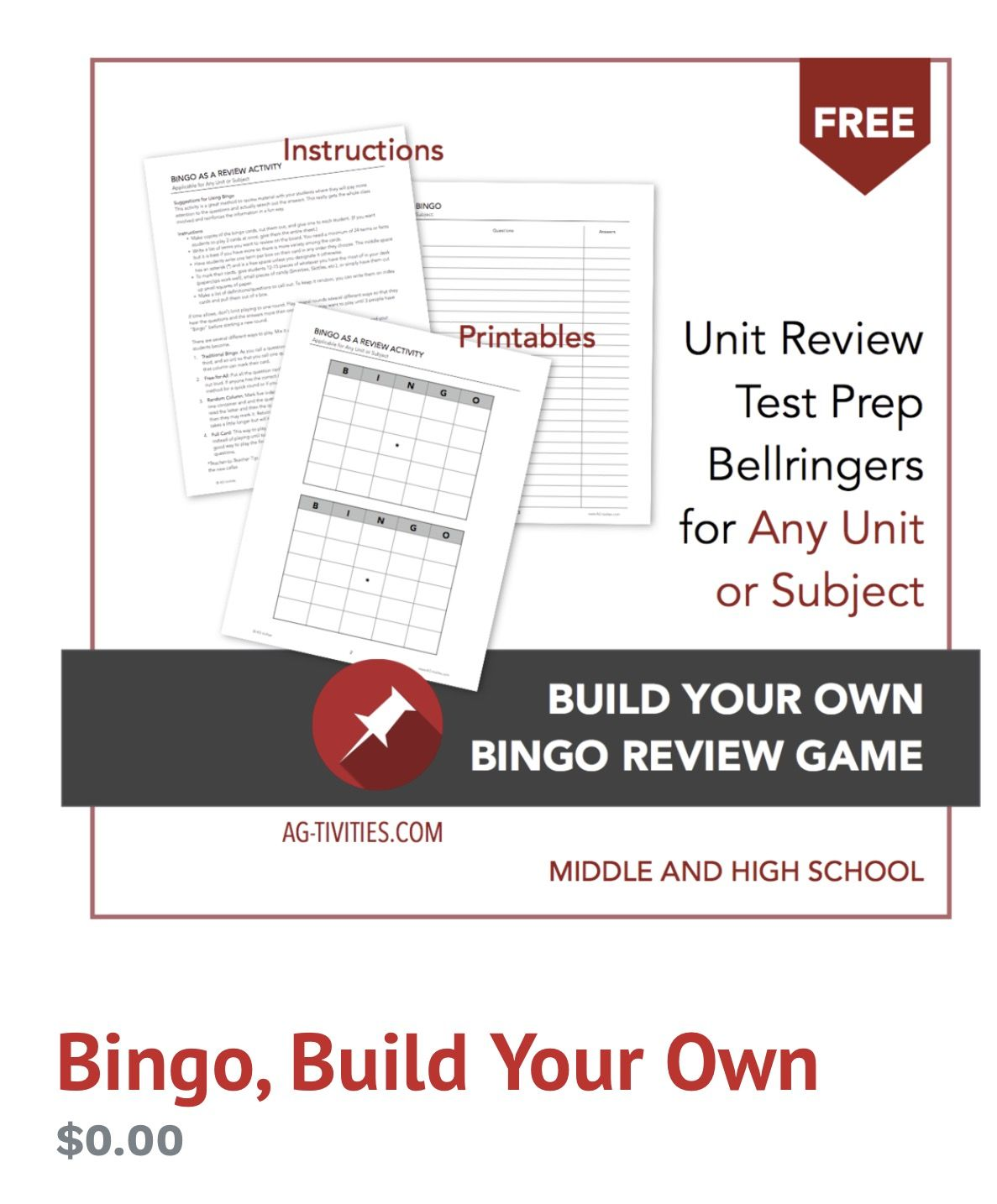 Free Worksheet Activity Build Your Own Bingo Ag