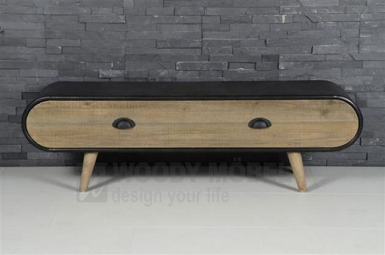 Tv-unterteil Schwarz Im Retro Design Woody 83-00203 Holz Modern - wohnzimmer schwarz holz