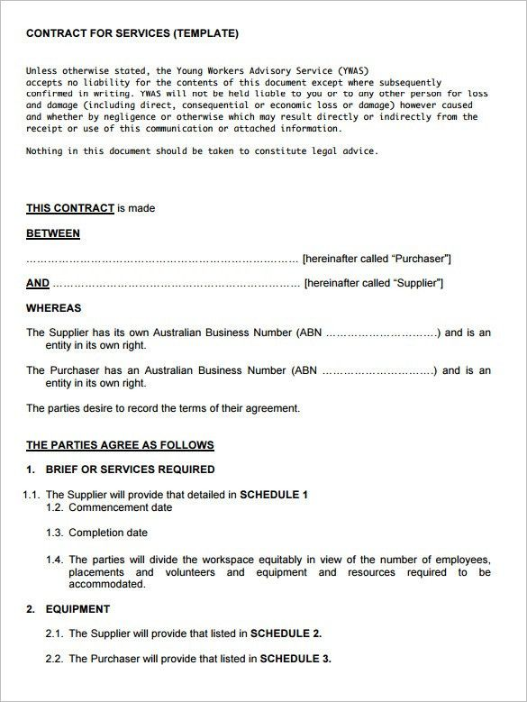 Service contract template 8 free word pdf documents download - contract templates in pdf