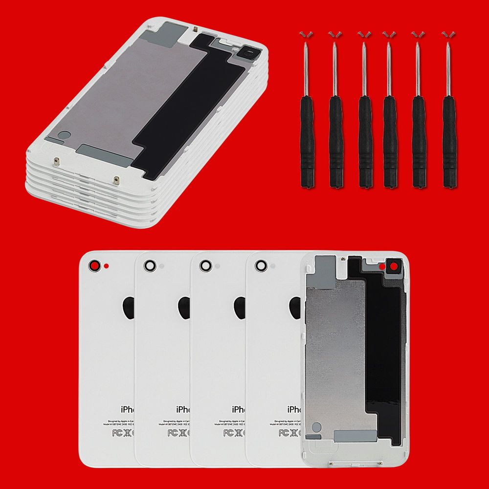 5 pcs for iphone 4s a1385 back rear battery cover glass