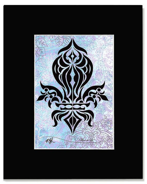 Fleur De Lis Custom Print Of An Original Black Ink Drawing Please Indicate The Color