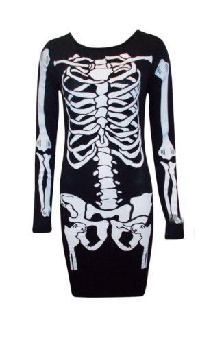 Womens Skeleton Bones Fancy Dress Halloween Party Mini Bodycon Dress Ladies 8-26