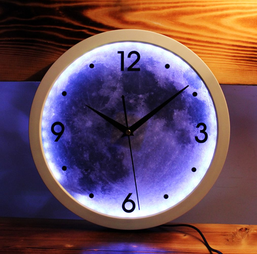 Led light creative design digital art wall clock moon fashion round