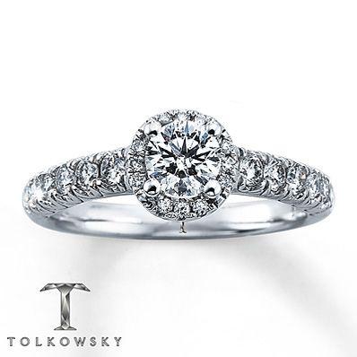 Tolkowsky Engagement Ring 1 ct tw Diamonds 14K White Gold on