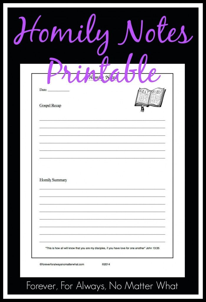 Homily Notes Notebooking Page Note