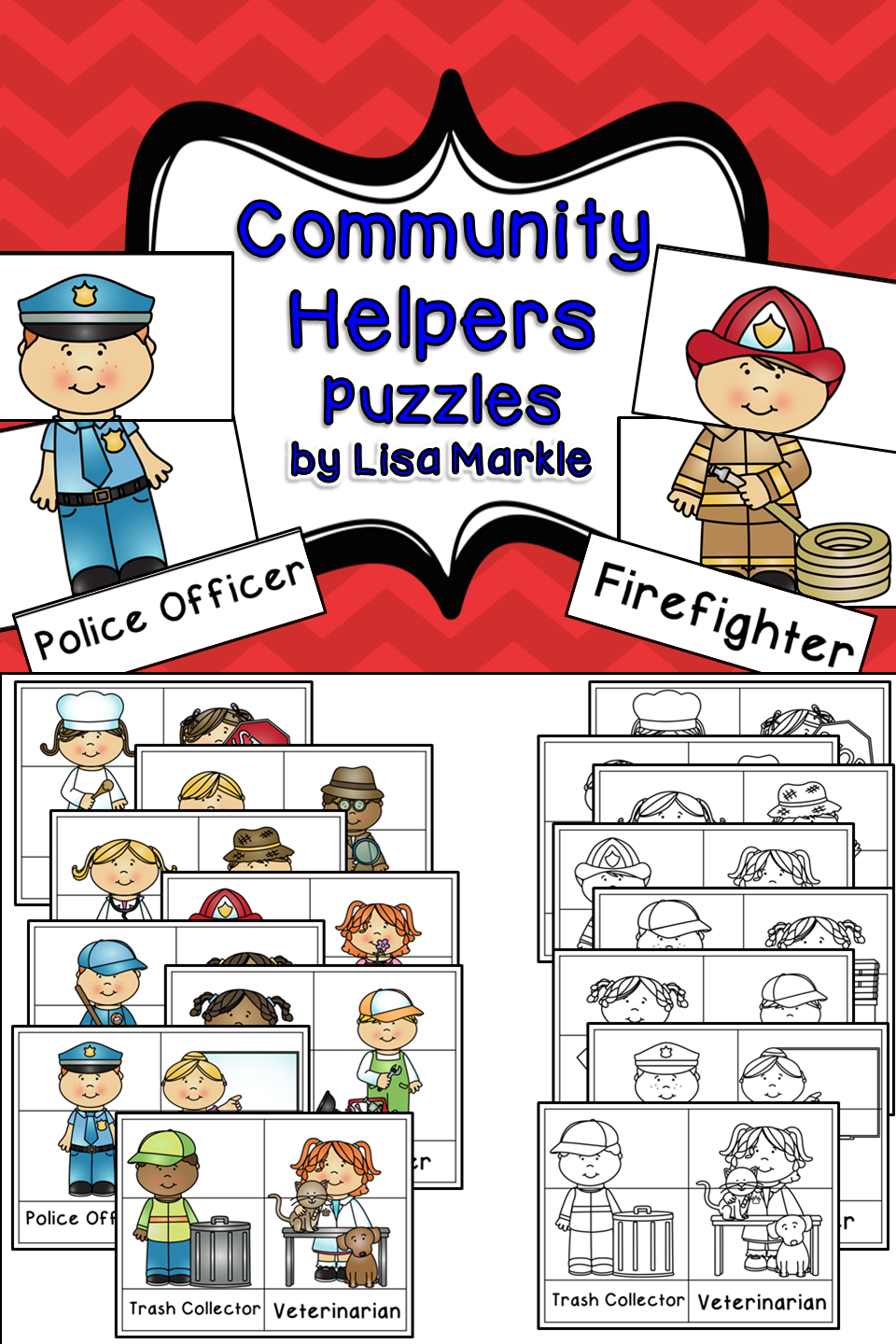 community helpers matching puzzles trash collector community