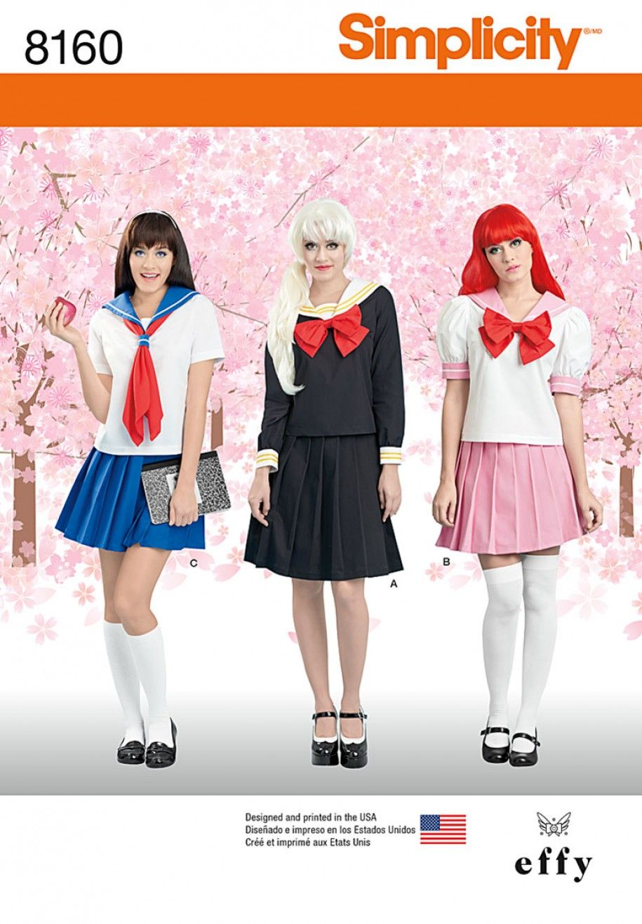 Simplicity pattern 8160 effy sews cosplay womens costume sewing projects love anime this cosplay costume is for you the perfect japanese school girl outfit jeuxipadfo Images
