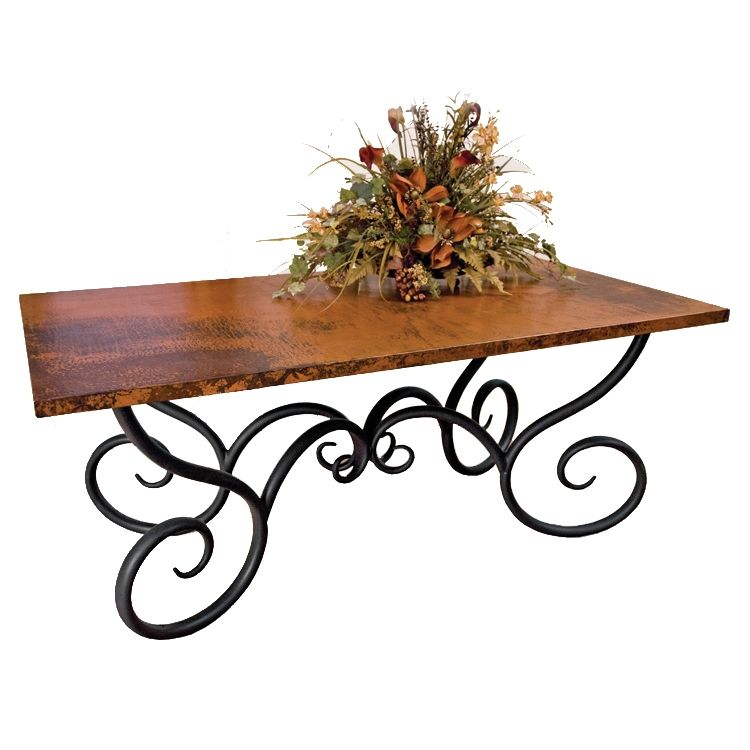 Traditional Wrought Iron Milan Dining Table With Rectangle Copper Top 42in X 72in Rectangle Top Wrought Iron Dining Table Iron Table Legs Dining Table Copper