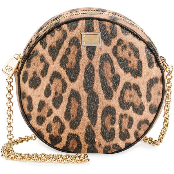 171a01c12d Dolce   Gabbana Glam Leopard-Print Round Crossbody Bag (€655) ❤ liked on  Polyvore featuring bags