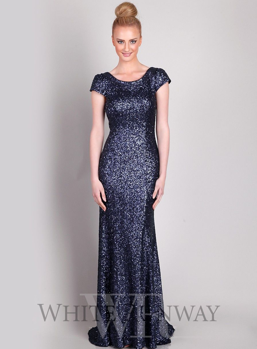 Navy Sequinned Cap Sleeve Dress with Train | Bridal party outfits ...