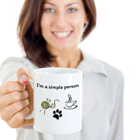I'm a simple person - Funny Knitting coffee lover dogs cats owner Crochet joke coffee mug - crocheti