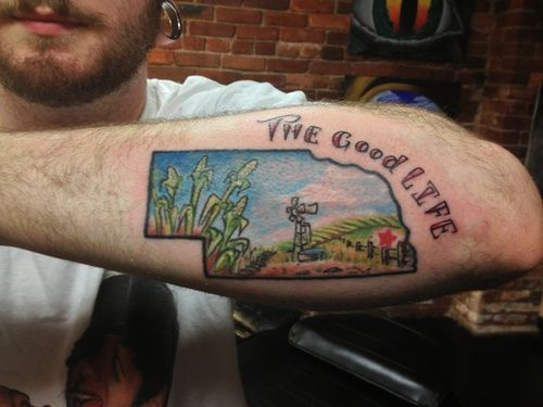 The Owner Of This Tattoo Believes That The Good Life Can Be Found In The Great Plains Inkedmagazine Nebraska Goodlife Nebraska Tattoo Tattoos State Tattoos