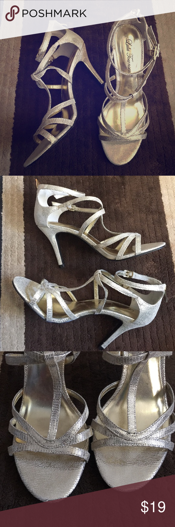 """Lulu Townsend Gold Heels (Sz 6.5) Strappy gold heels perfect for that evening event. 3.5"""" height. Double ankle buckles. Back heel zipper. Used once. Lulu Townsend Shoes Heels"""