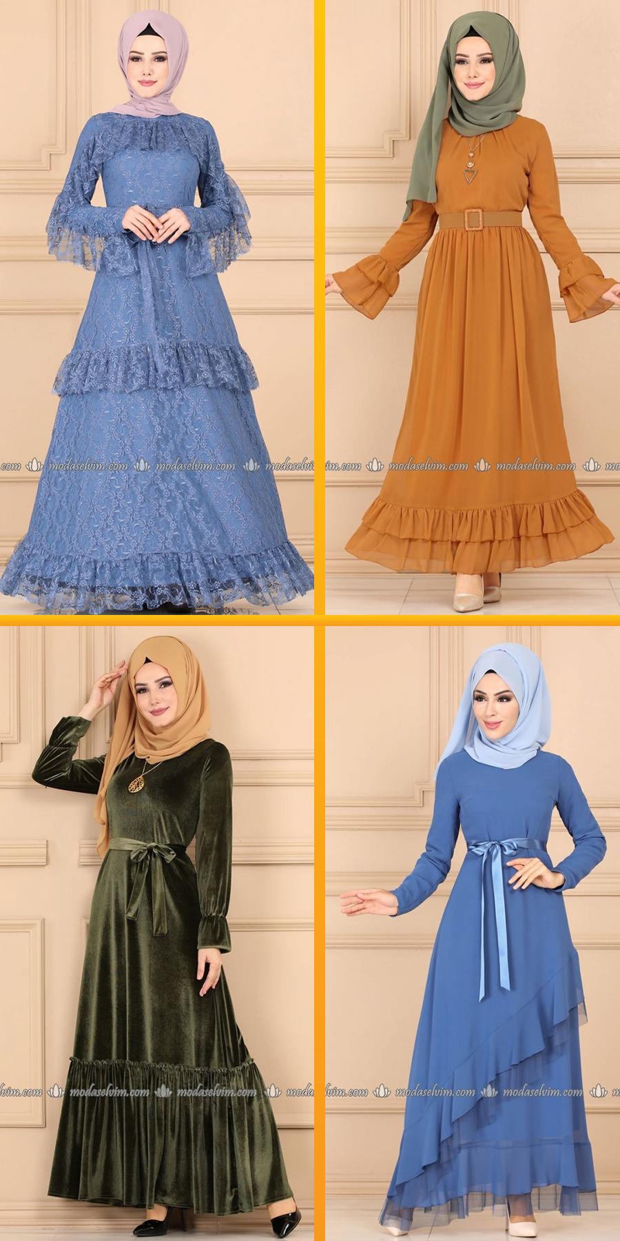 Firfirli Elbise Modelleri Modaselvim 2020 Firfirli Elbise Modelleri Elbise Modelleri Moda Stilleri Islami Moda