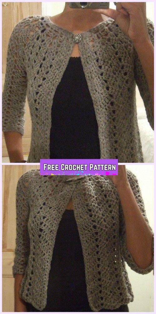 Crochet Chevron Lace Cardigan Free Pattern for Ladies | Jacken ...