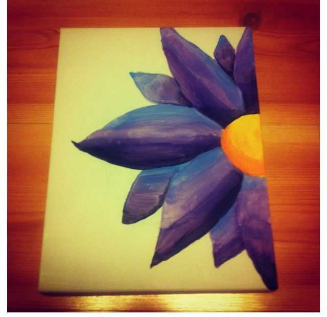 Cute Half Flower On Canvas Very Colorful With Images Canvas