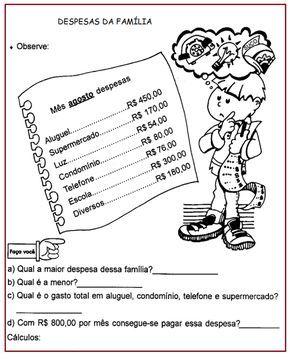Despesas Da Famila Sistema Monetario Sala De Aula Profª