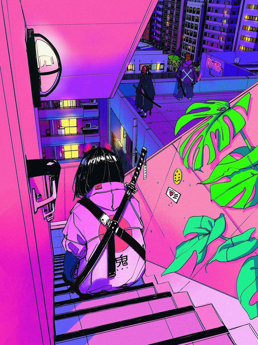 Vinne On Twitter In 2020 Vaporwave Art Anime Wall Art Vaporwave Wallpaper