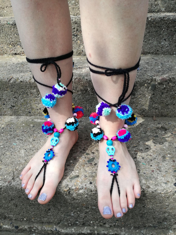 Crochet Barefoot Sandals, Skull Pom Pom Barefoot Sandals, Ibiza style Pom Pom Sandals, Hippie Sandals, Gypsy Sandals, Boho colorful Sandals 1