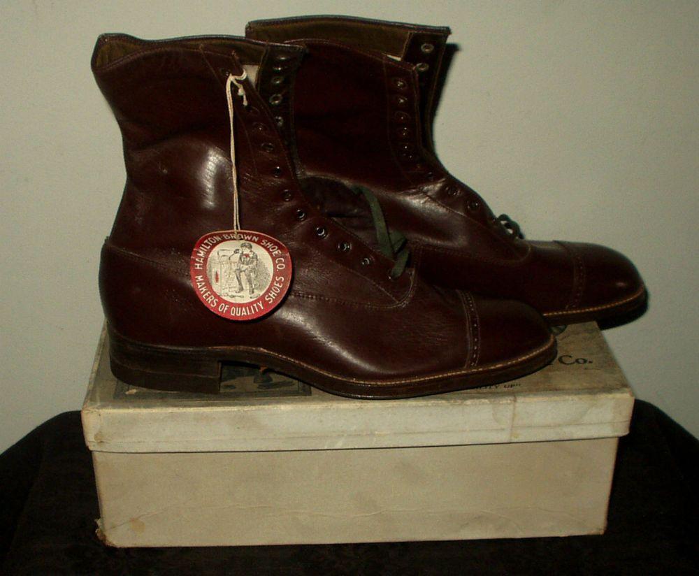 Vintage 1900 S Hamilton Brown Leather Boy S Shoes Dead Stock In Graphic Box Zapatos Victorianos Zapatos Victoriano