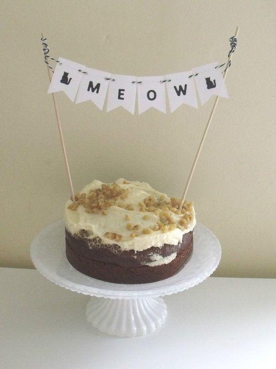 Halloween cake topper, cat cake bunting, cake decorations for - cake decorations for halloween