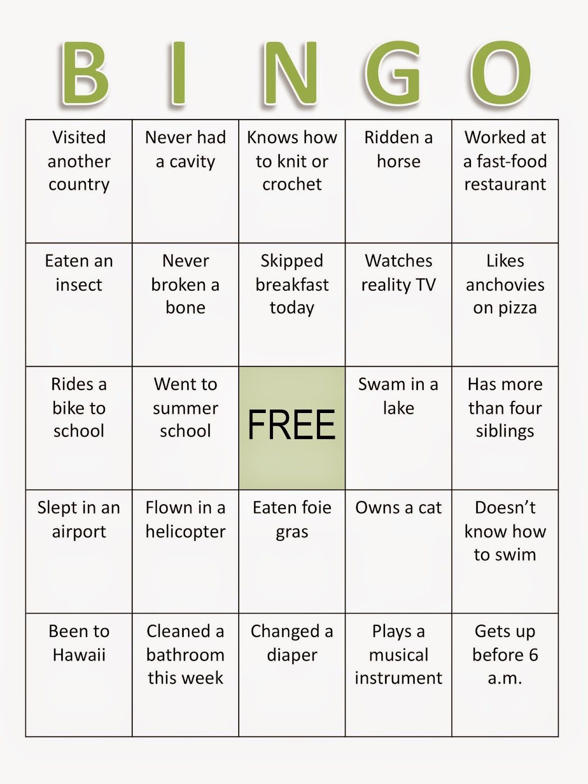 Back To School Bingo Ice Breaker