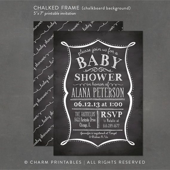 Printable Baby Shower Invitation - Chalkboard Invitation, DIY print - chalk board invitation template