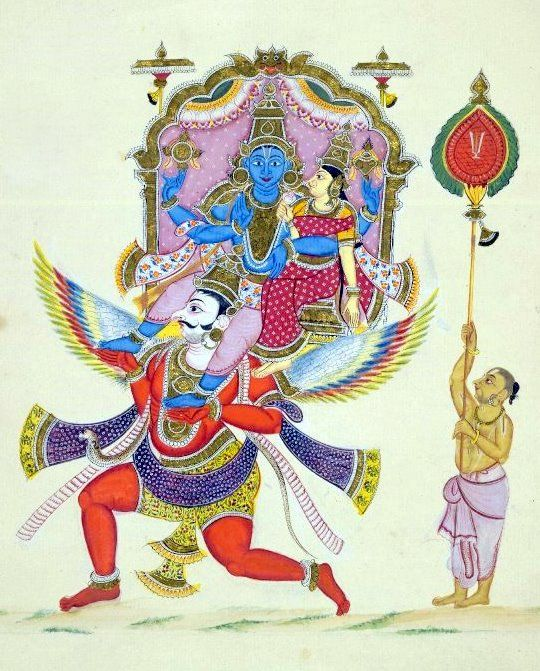 "Lakshmi Vishnu - ""Painting of Garuda carrying Viṣṇu and his wife Lakshmi. The divine couple sit on a throne surrounded by a gilded metal frame. The golden-complexiones goddess of wealth, Lakshmi, carries a lotus in her right hand. Garuda's wings are painted in a wide range of brilliant colours. Behind stands a brahmin carrying a large oval standard."