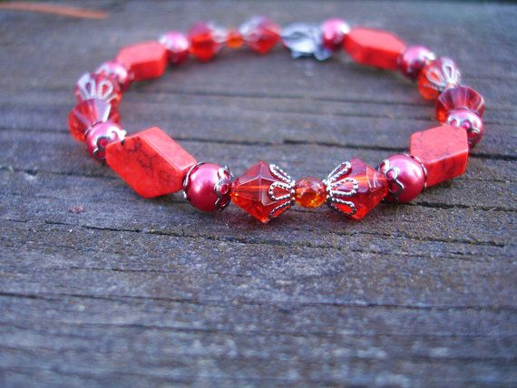 Red bracelet in red glass pearls and red turquoise and by firesky7, $9.99