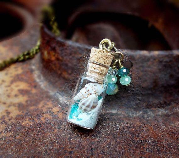 Sea Treasures  shell sand tiny bottle sea glass by freerangeart, $22.00