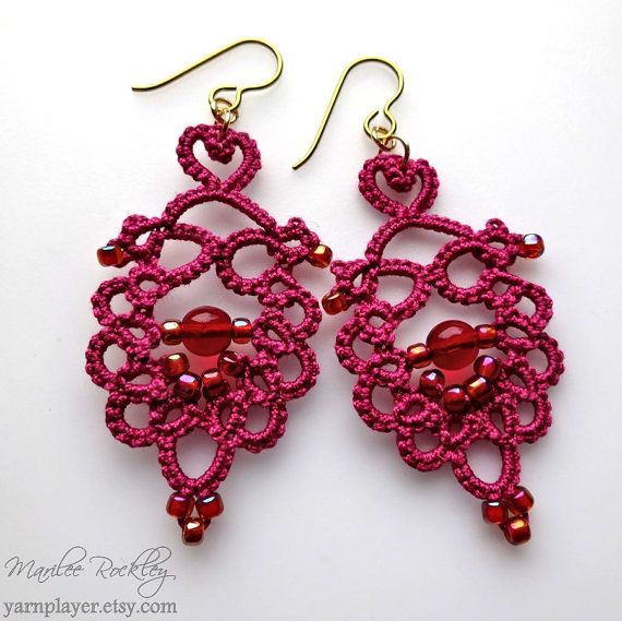 Red tatted earrings with beads modern Victorian lace by yarnplayer