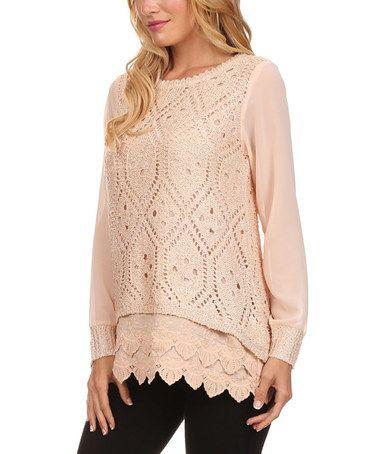 Pink Pointelle Lace-Layered Sweater #zulily #zulilyfinds