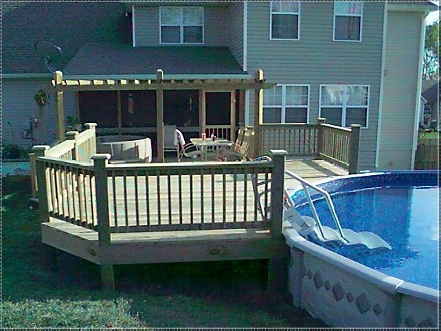 attractive deck from house to above ground pool #3: Find this Pin and more on House by harper3608. This could totally work in  my backyard! (Above Ground Pool Deck Plans