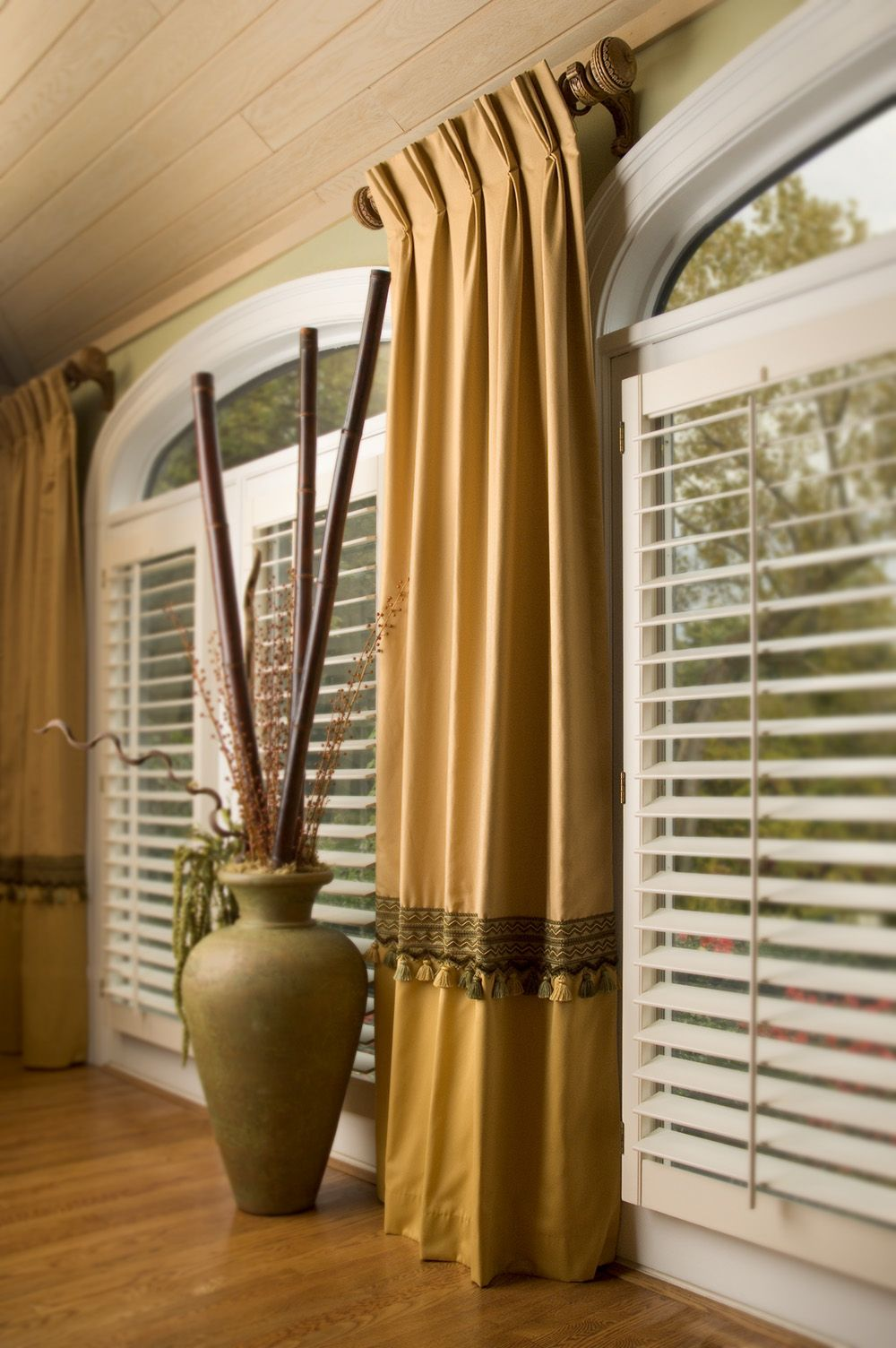 Window dressing ideas for arched windows  on the horizontal tassel fringe  devonshire collection by brimar
