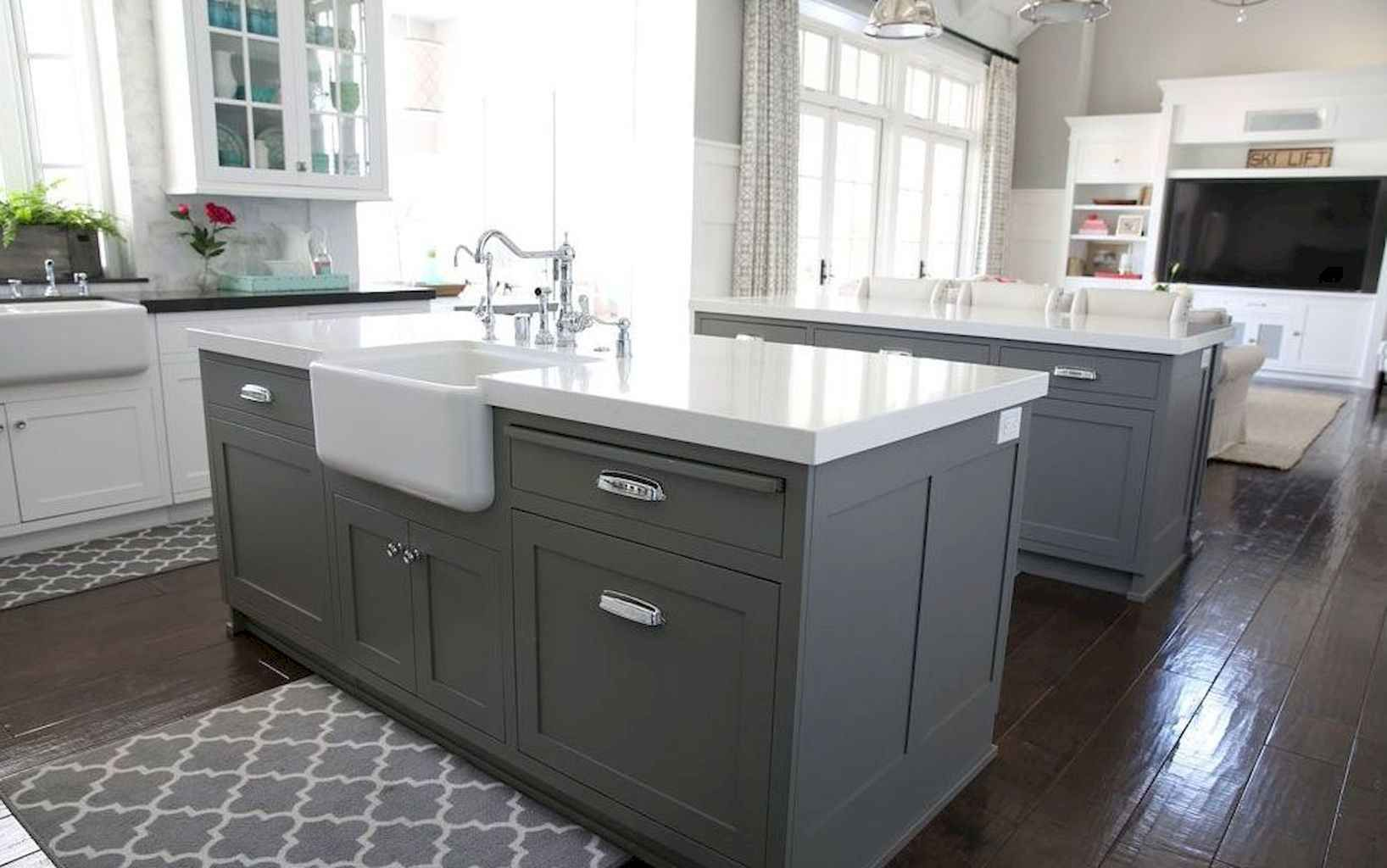 80 Beautiful Gray Kitchen Cabinet Design Ideas Spaciroom Com Grey Kitchen Island Grey Kitchen Cabinets Grey Kitchen