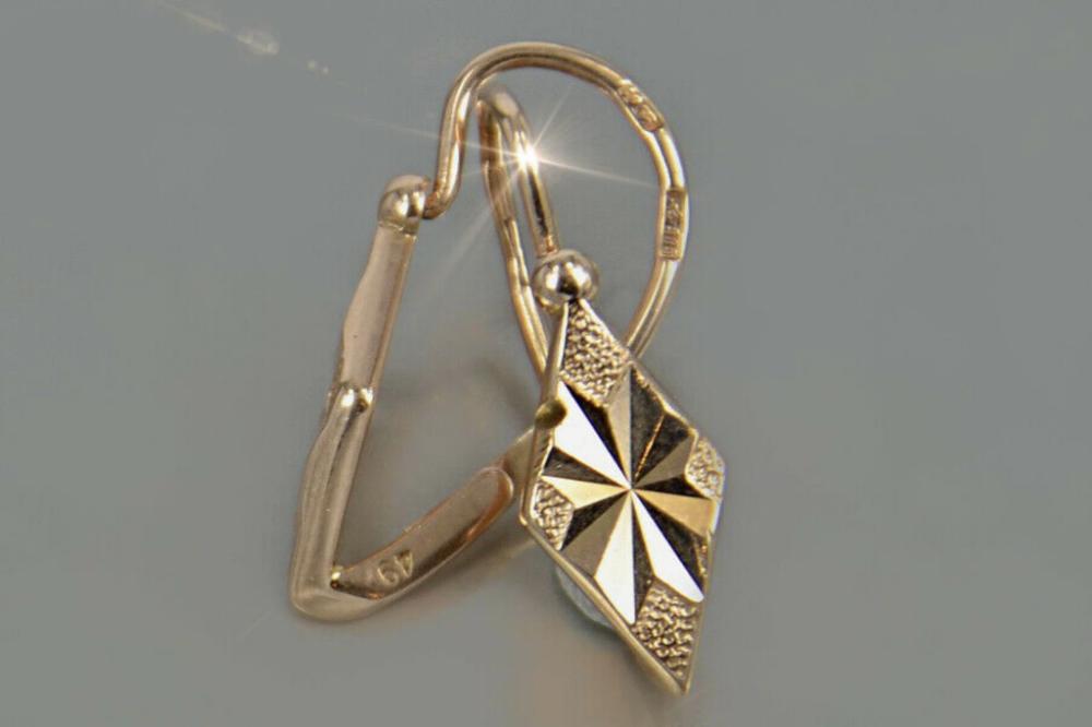 Russian Gold Earrings Solid 14 Kt Rose Gold 585 Russian Gold Jewelry Zolotye Sergi Zoloto Sergi