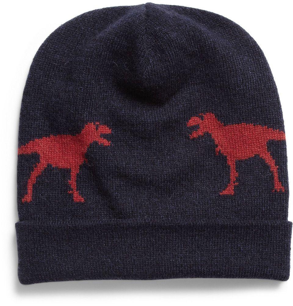 JIL SANDER  DINOSAUR INTARSIA CAMEL AND WOOL-BLEND HAT