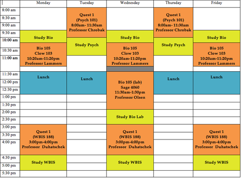 Sample Schedule For Freshmen This One Has Things That Are More