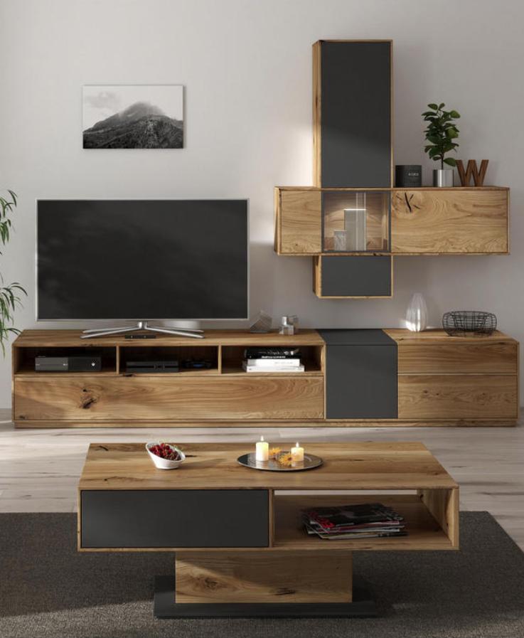 Wohnwand In Eichefarben Grau In 2019 Wohnzimmer Living Room