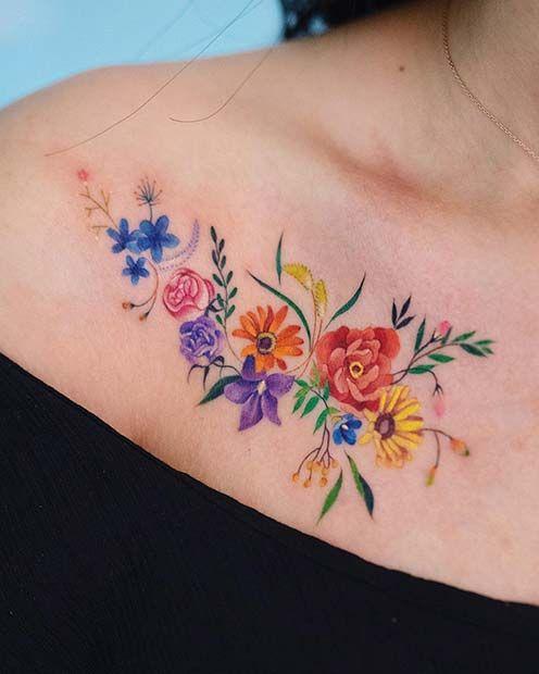 Jaw Drop Ink Tattoos: 43 Jaw-Dropping Collar Bone Tattoos For Women In 2020