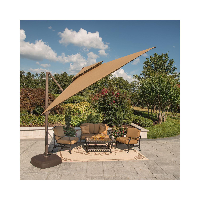 Member S Mark 10 Foot Square Cantilever Umbrella With Premium Sunbrella Fabric Beige Patio Umbrella Stand Outdoor Spaces Patio Umbrellas